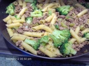 Ground Turkey, Broccoli and Pasta